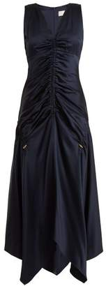 Peter Pilotto Ruched V Neck Satin Dress - Womens - Navy