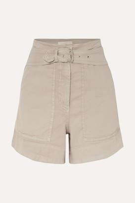 Vanessa Bruno Belted Linen-blend Shorts - Gray green