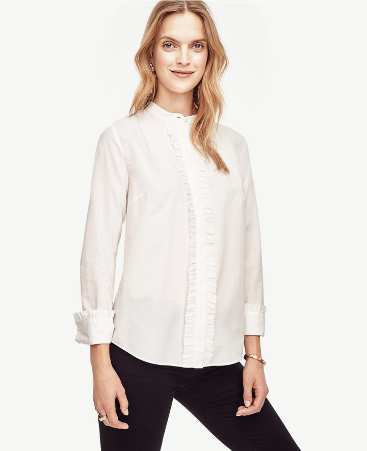 Ann Taylor Cotton Ruffle Blouse