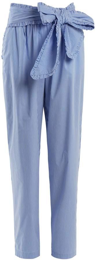 MSGM Tie-waist striped cotton-blend trousers