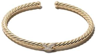 David Yurman 18kt yellow gold diamond X Cable Spira cuff bracelet