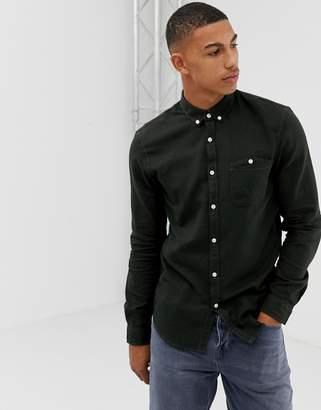 Tom Tailor slim fit button down flannel shirt in green