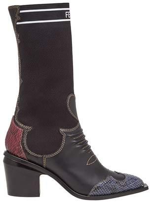 Fendi patch-work cowboy boots