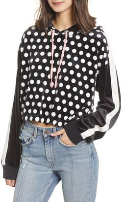 Juicy Couture Polka Dot Velour Crop Hoodie