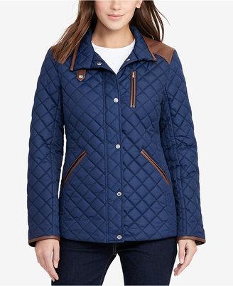 Lauren Ralph Lauren Faux-Leather-Trim Quilted Jacket $180 thestylecure.com