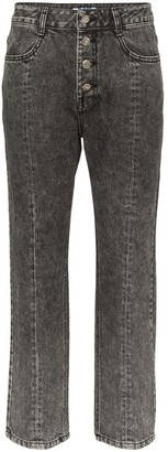 Sjyp washed denim cropped jeans