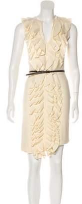 Fendi Virgin Wool Ruffle-Trimmed Dress wool Virgin Wool Ruffle-Trimmed Dress