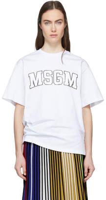MSGM White College Print T-Shirt