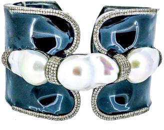 Arthur Marder Fine Jewelry 3.35 Ct. Tw. Diamond, 15-22 Mm Pearl, & Enamel Cuff