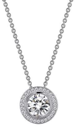 Lafonn Platinum Plated Sterling Silver Bezel Set Simulated Diamond & Pave Halo Round Pendant Necklace