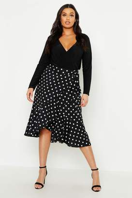 boohoo Plus Polka Dot Ruffle Midi Skirt
