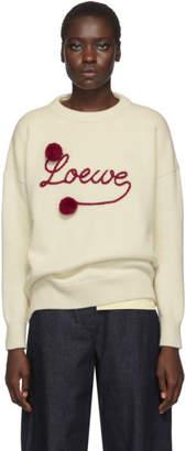 Loewe (ロエベ) - Loewe ホワイト Pom Pom クルーネック セーター