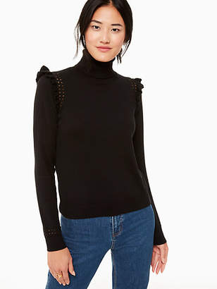 Kate Spade Ruffle Turtleneck Sweater, Black - Size XXS