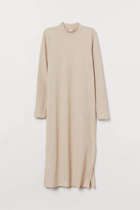 H&M Ribbed Mock-turtleneck Dress - Beige