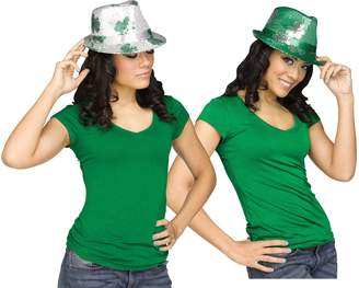 Fun World Costumes Fun World Unisex-Adults Patricks Day Green Shamrock Sequin Fedora Party Hat