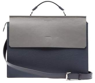 Nosakhari - Standout Two Tone Leather Briefcase - Mens - Navy
