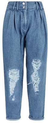 Balmain High Waist Straight Destroyed Jeans