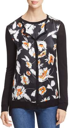 St. John Modern Floral Silk-Front Cardigan