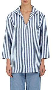 Sleepy Jones SLEEPY JONES WOMEN'S TOMOKO STRIPED LINEN CANVAS PAJAMA SHIRT-BLUE SIZE XL