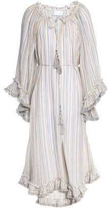 Zimmermann Gathered Ruffle-Trimmed Striped Linen And Cotton-Blend Midi Dress