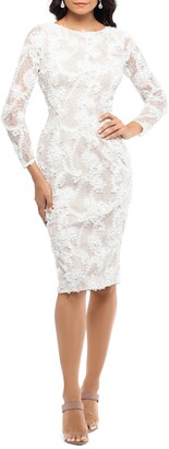 Xscape Evenings Lace Applique Long Sleeve Cocktail Dress