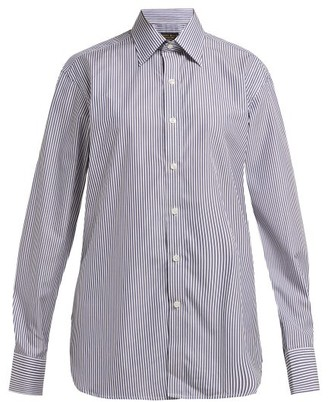 Emma Willis Silvano Bengal Stripe Cotton Shirt - Womens - Navy White