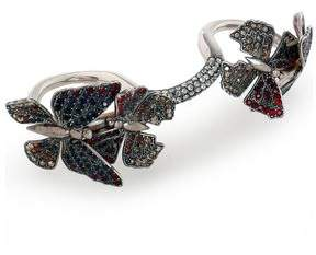 Valentino Silver-tone And Crystal Multi-finger Ring