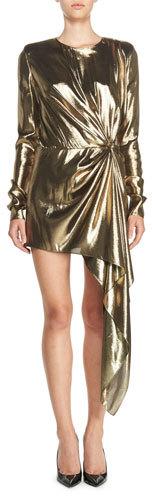 Saint LaurentSaint Laurent Long-Sleeve Lamé Mini Dress, Gold