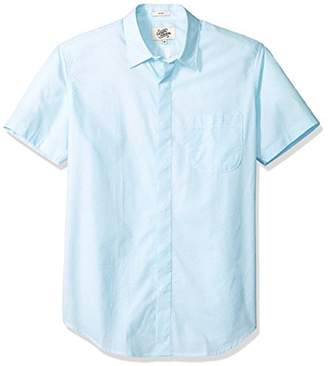 Casual Terrains Men's Tailored Slim-Fit Short-Sleeve Vintage Style Hidden Placket Shirt .