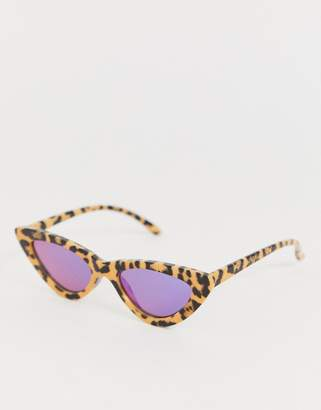 Aj Morgan AJ Morgan slim cat eye sunglasses in cheetah print