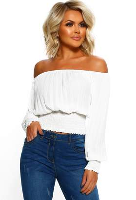 Pink Boutique Sexy Siren White Pleated Long Sleeve Bardot Top