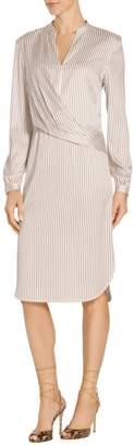St. John Vertical Stripe Print Split Dress