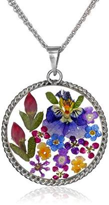 Sterling Pressed Flower Round Pendant Necklace with Twisted Rope Edge