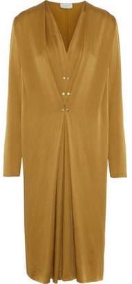 Lanvin Studded Gathered Washed-Satin Midi Dress