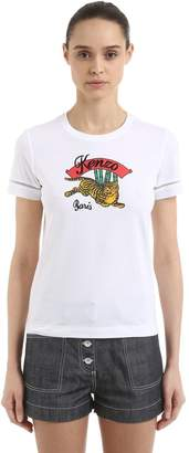 Kenzo Logo Embroidered Cotton Jersey T-Shirt