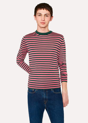 Paul Smith Men's Dark Green And Pink Stripe Crew-Neck Merino Wool Sweater