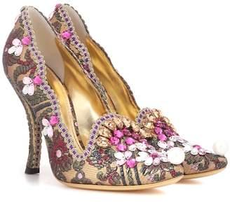 Dolce & Gabbana Crystal-embellished jacquard pumps
