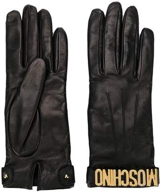 Moschino leather 100% logo gloves
