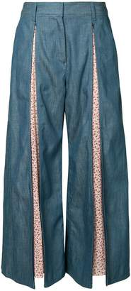 Miharayasuhiro flared floral panelled trousers