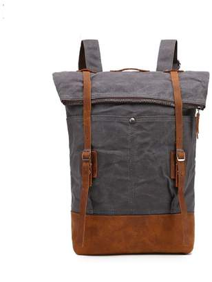 EAZO - Folded-Top Waxed Canvas & Leather Backpack In Grey
