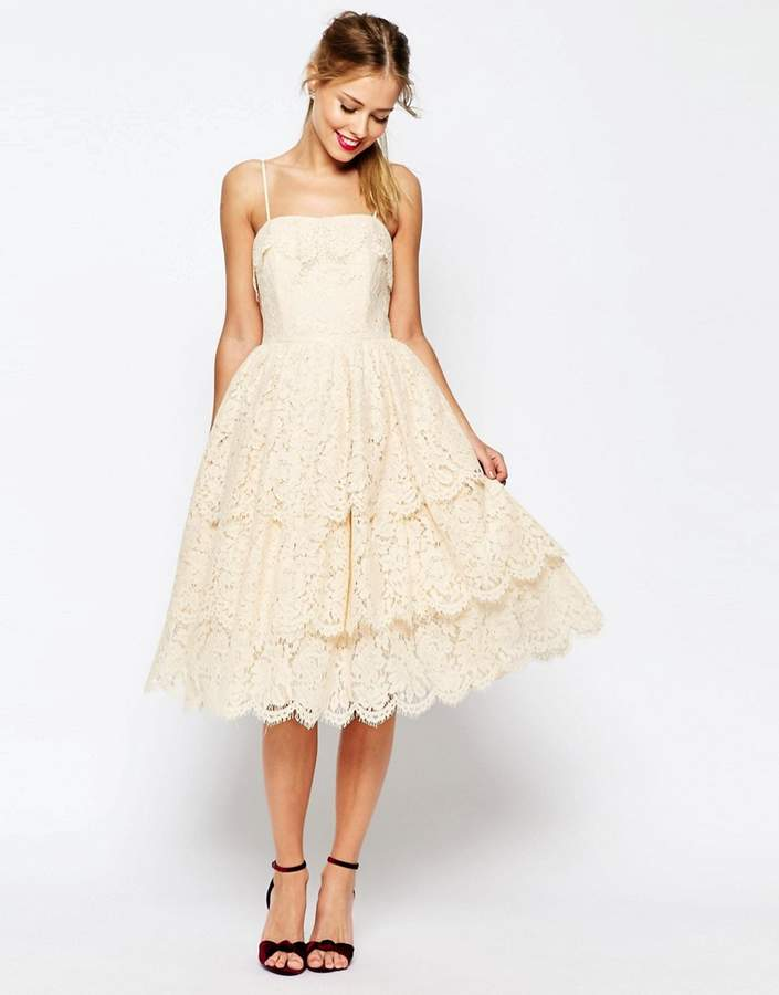 Asos ASOS SALON Tiered Lace Midi Prom Dress