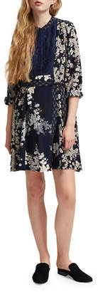 French Connection Rishiri Crew Neck Floral-Print Drape Dress