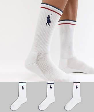 Polo Ralph Lauren large player logo 3 pack socks in white/multi