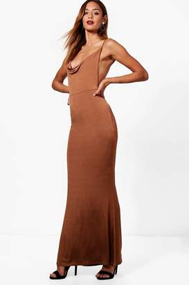 boohoo Strappy Ruched Back Maxi Dress