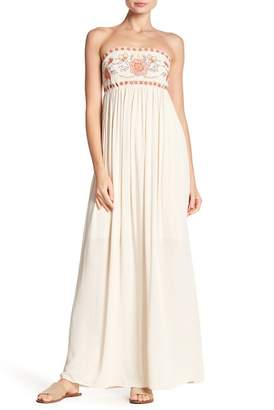 Taylor & Sage Embroidered Strapless Maxi Dress
