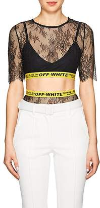 Off-White Women's Lace Crop Top & High-Waist Briefs Set