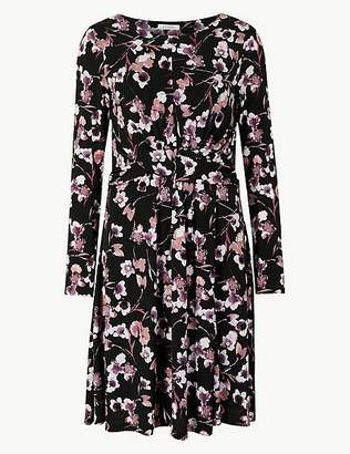 Marks and Spencer Floral Print Long Sleeve Fit & Flare Dress