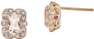 FINE JEWELRY Oval Genuine Morganite and 1/10 CT. T.W. Diamond 14K Rose Gold Stud Earrings