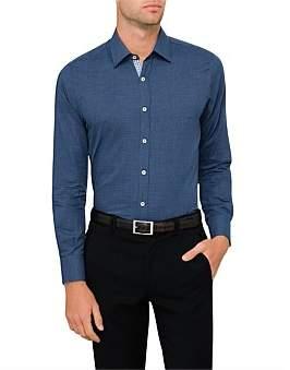 Canali L/S Cotton P/Tooth Cont Trim Shirt