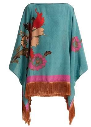 Etro Floral Print Silk Poncho - Womens - Blue